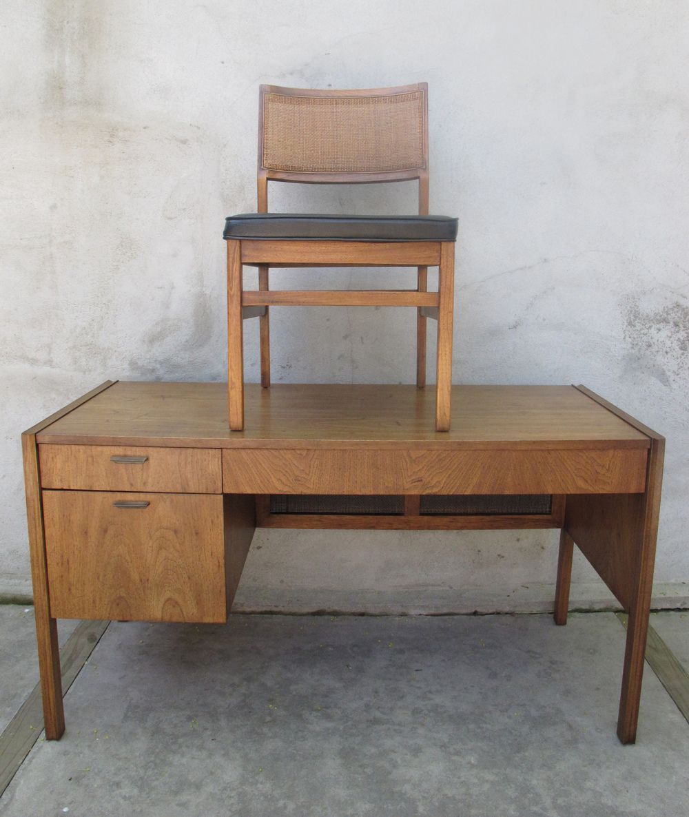 MID CENTURY WOOD & CANE DESK WITH CHAIR