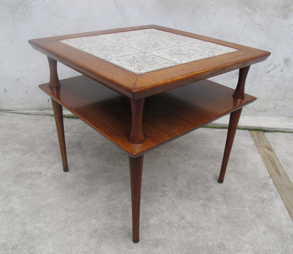 MID CENTURY SQUARE TWO-TIER TILED END TABLE