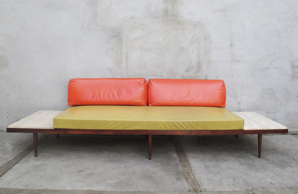 MID CENTURY DAYBED WITH MARBLE TOP END TABLES