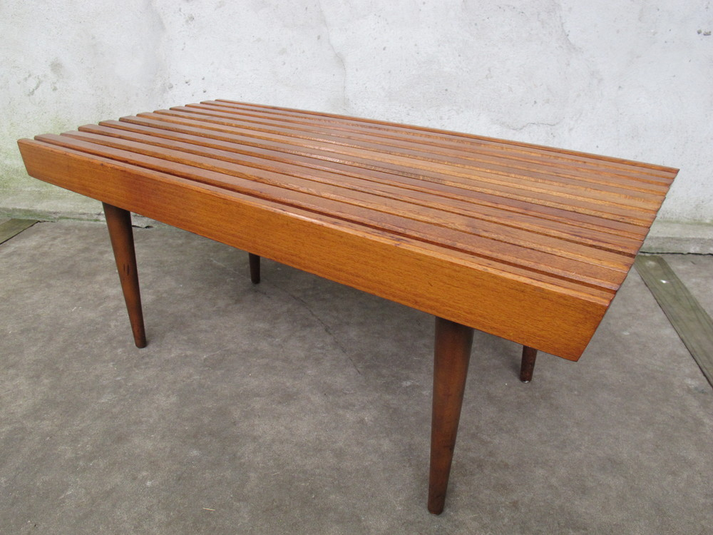 MID CENTURY SLAT BENCH COFFEE TABLE