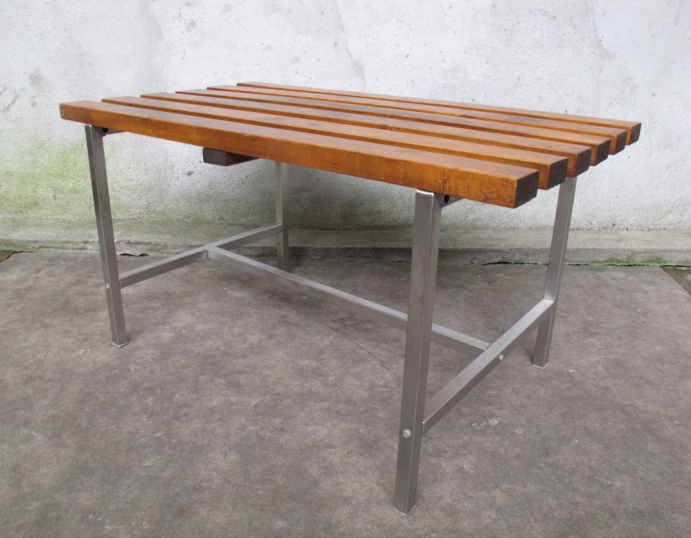 MID CENTURY WOOD & METAL SLAT BENCH COFFEE TABLE