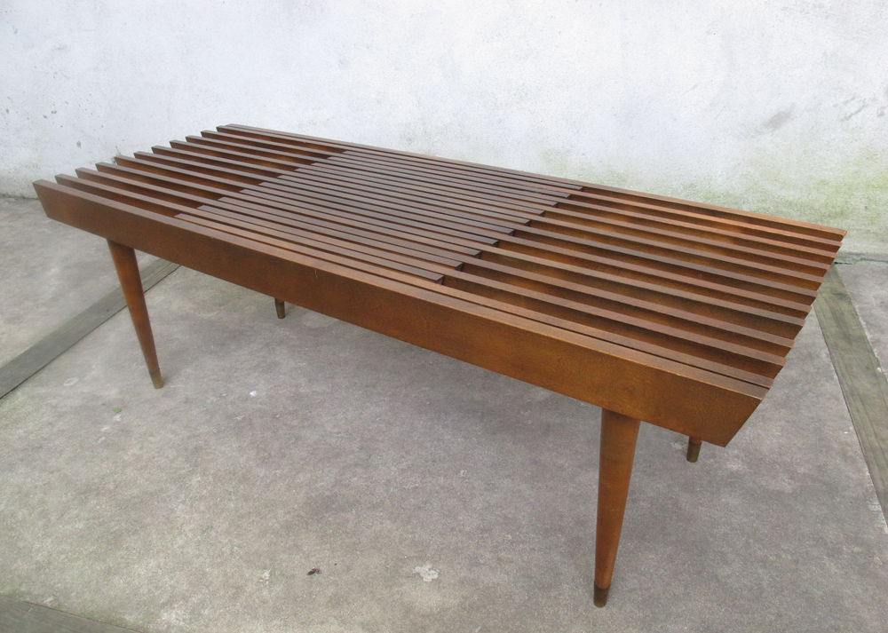 MID CENTURY ADJUSTABLE SLAT BENCH