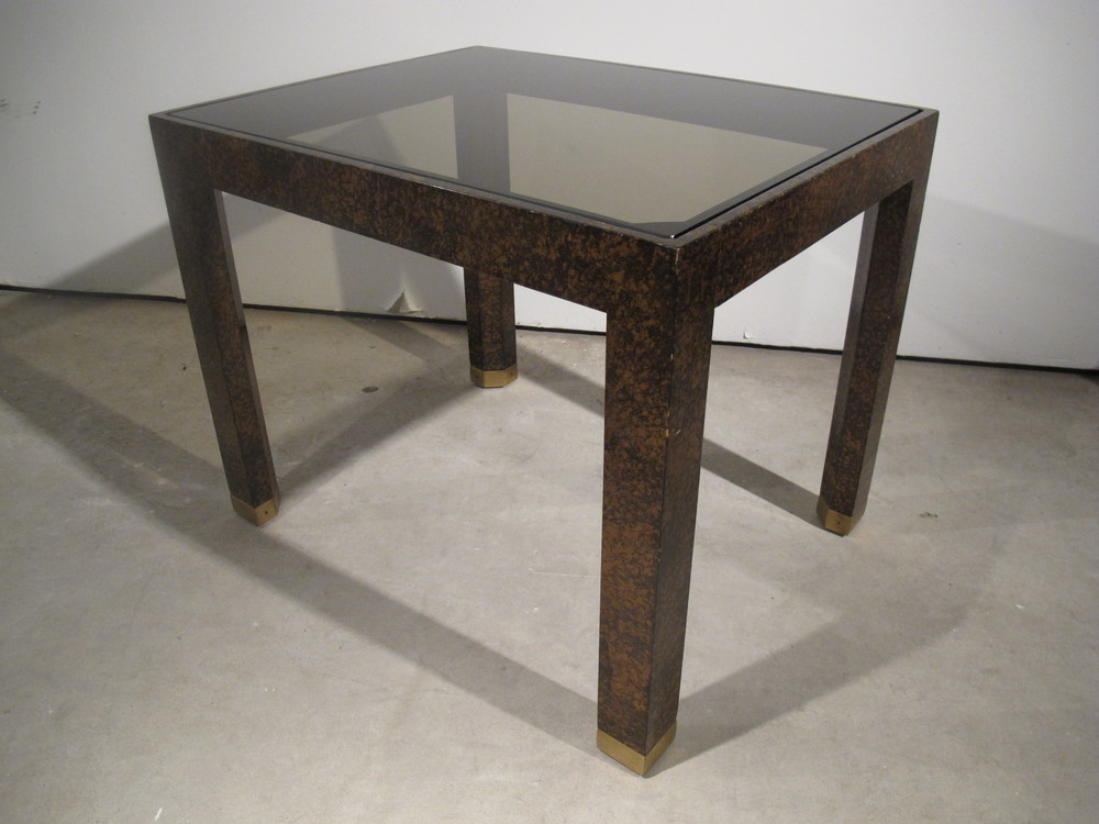 HENREDON TORTOISE SHELL & GLASS SIDE TABLE