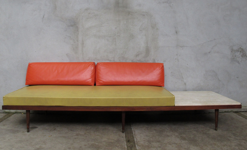 MID CENTURY DAYBED WITH MARBLE END TABLE