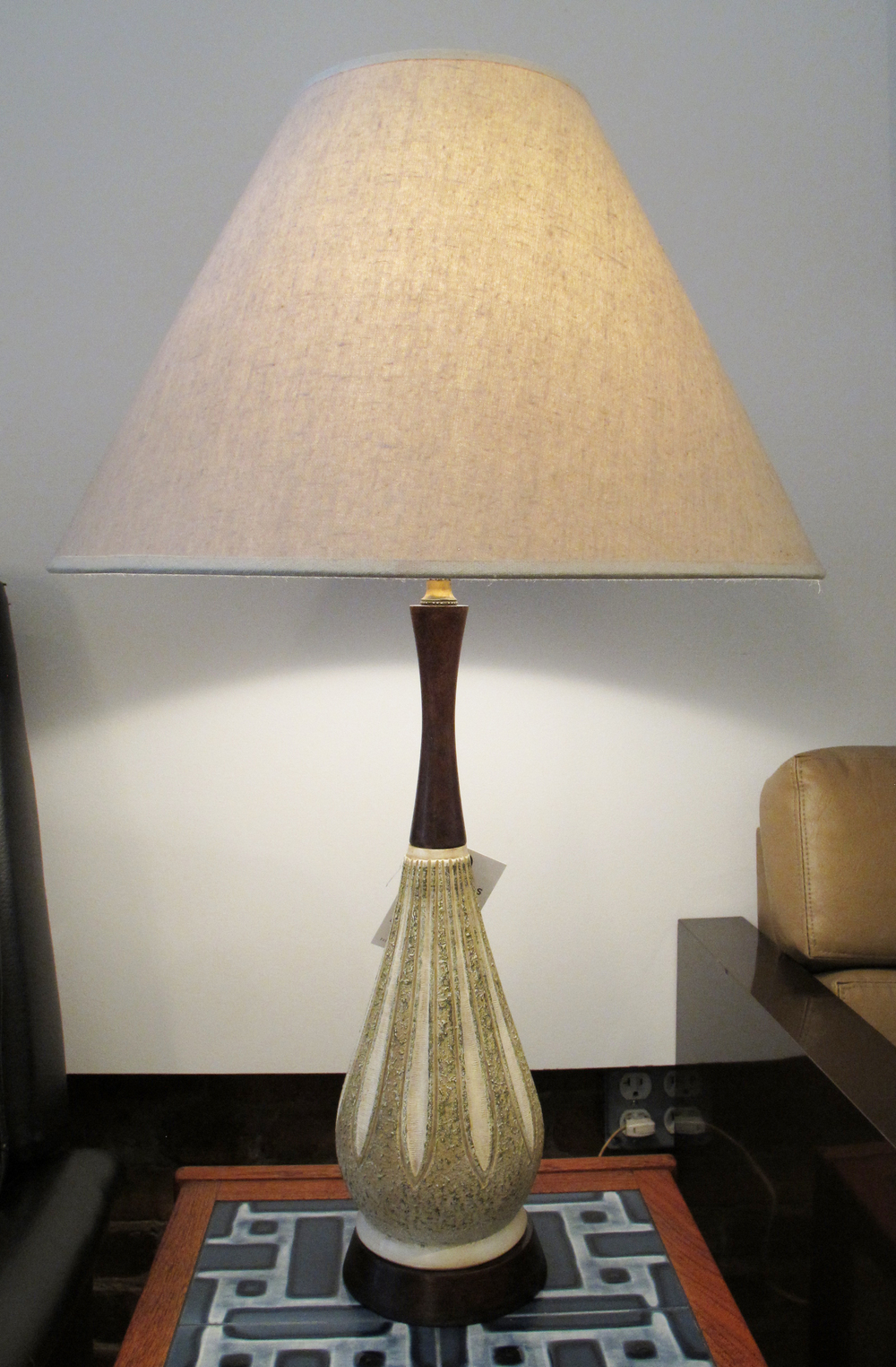 DANISH MODERN STYLE CERAMIC & WOOD LAMP BY F.A.I.P.