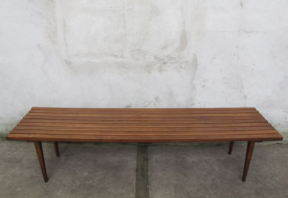 MID CENTURY 6-FOOT SLAT BENCH COFFEE TABLE