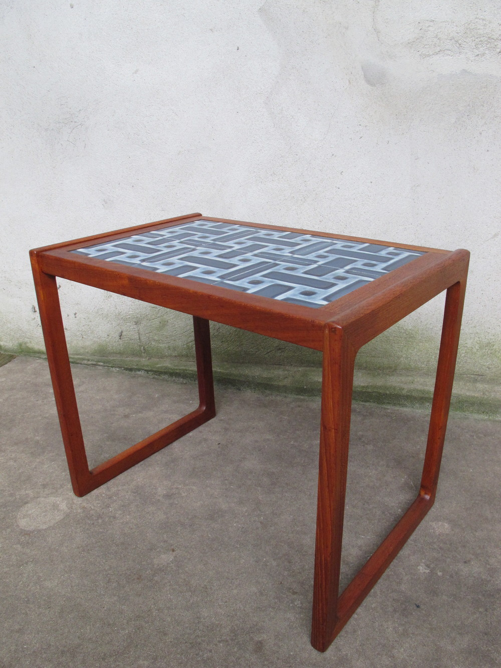 DANISH TEAK TILE TOP SIDE TABLE BY JASON