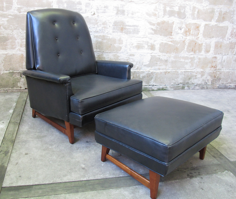 DUNBAR STYLE RECLINING LOUNGE CHAIR WITH OTTOMAN