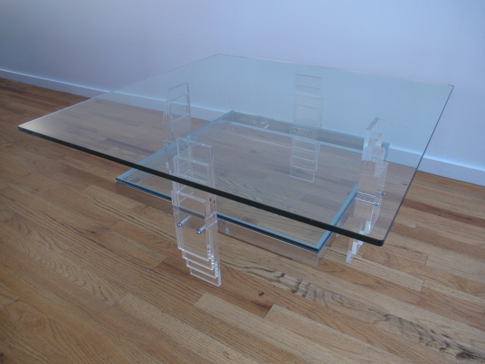 MID CENTURY GLASS & LUCITE COFFEE TABLE AFTER CHARLES HOLLIS JONES