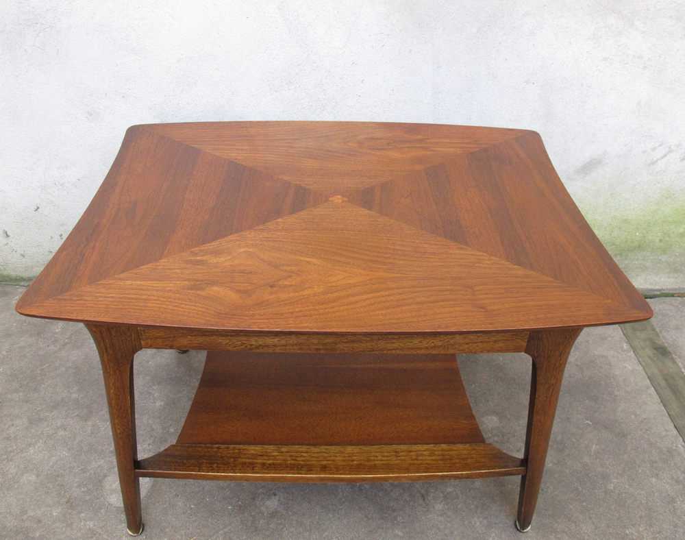 MID CENTURY SCULPTED TWO-TIER SIDE TABLE