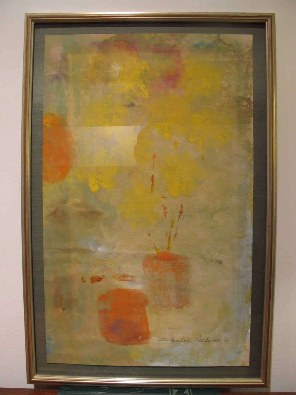 MID CENTURY ABSTRACT WATERCOLOR BY IRWIN ROSENHOUSE