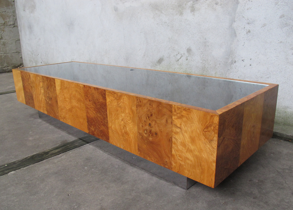 MID CENTURY BURLWOOD, GLASS & STEEL DISPLAY CASE COFFEE TABLE