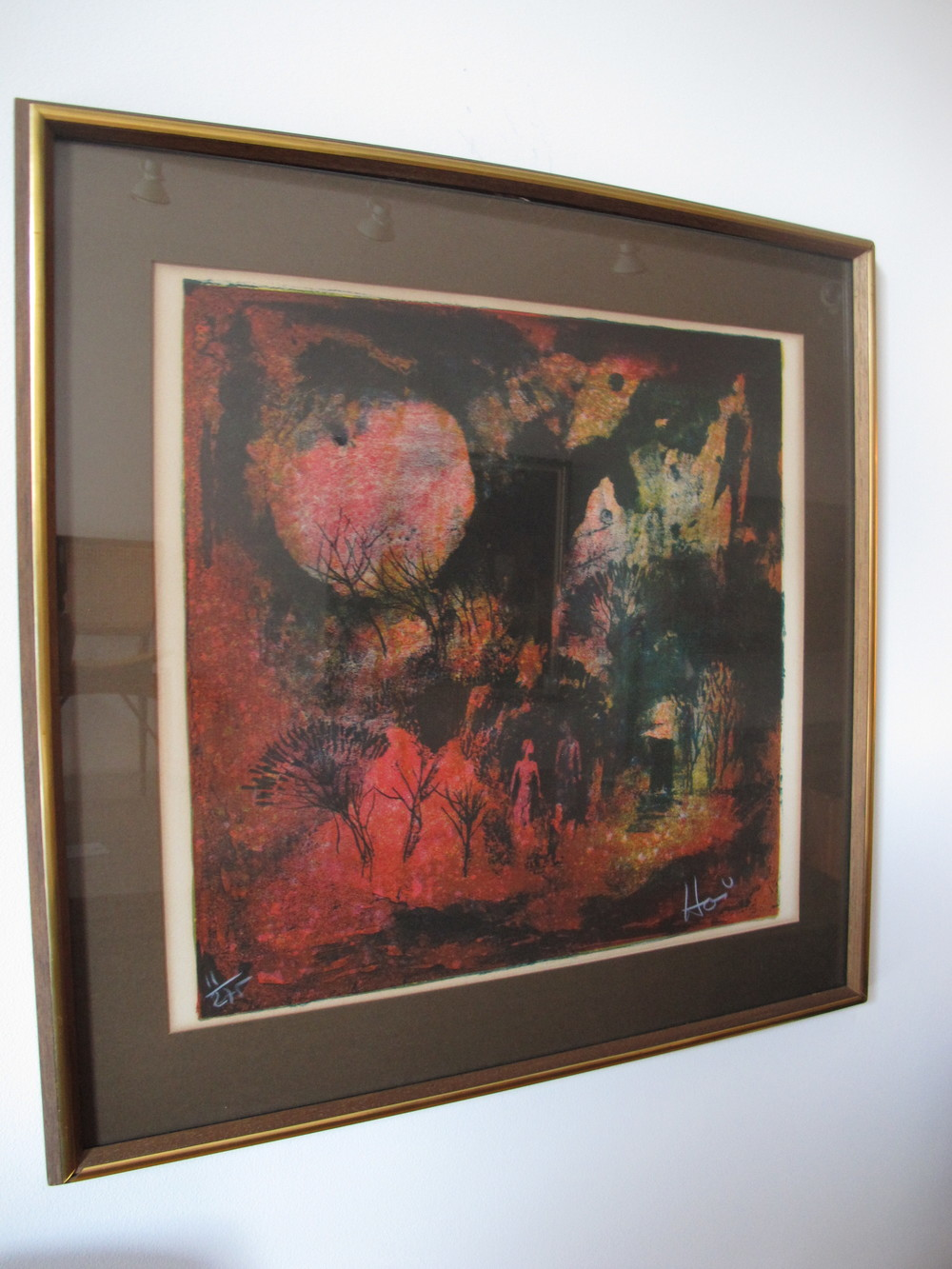 "ABSTRACT LITHOGRAPH ""RENDEZ VOUS SOUS LA LUNE"" BY HOI LEBADANG"