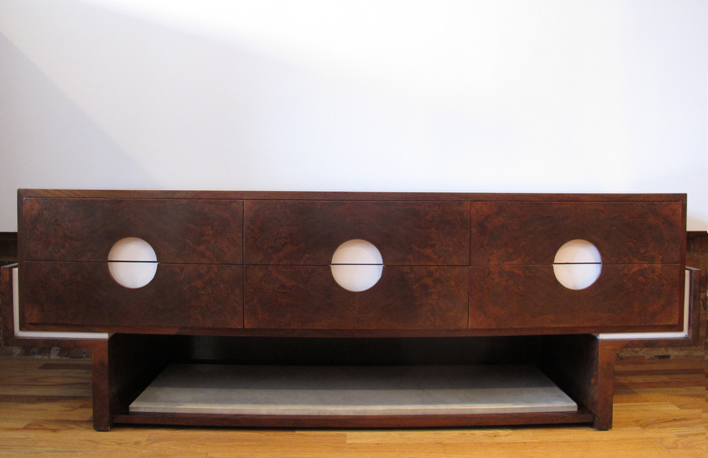 MID CENTURY BURLWOOD & MARBLE LOW DRESSER CONSOLE