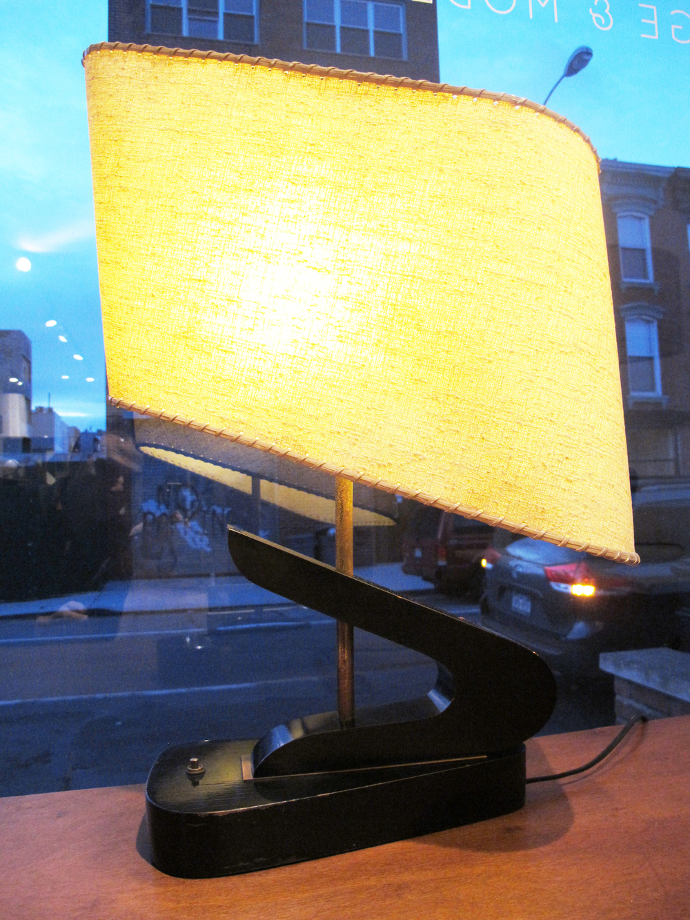"ATOMIC ""Z"" SHAPED MID CENTURY LAMP WITH ASYMMETRICAL SHADE"
