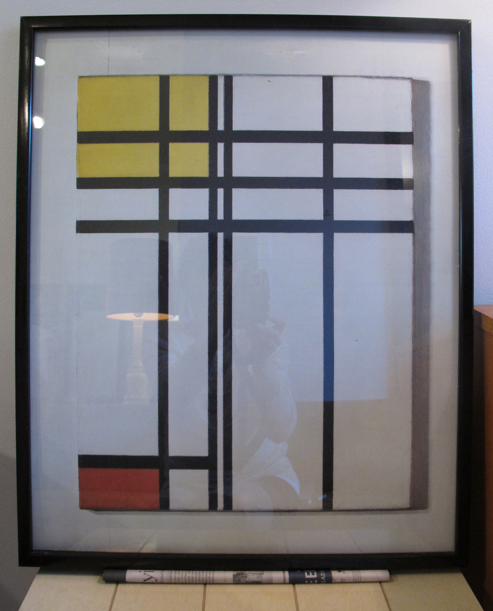 FRAMED REPRODUCTION OF 'OPPOSITION OF LINES RED & YELLOW' BY PIET MONDRIAN
