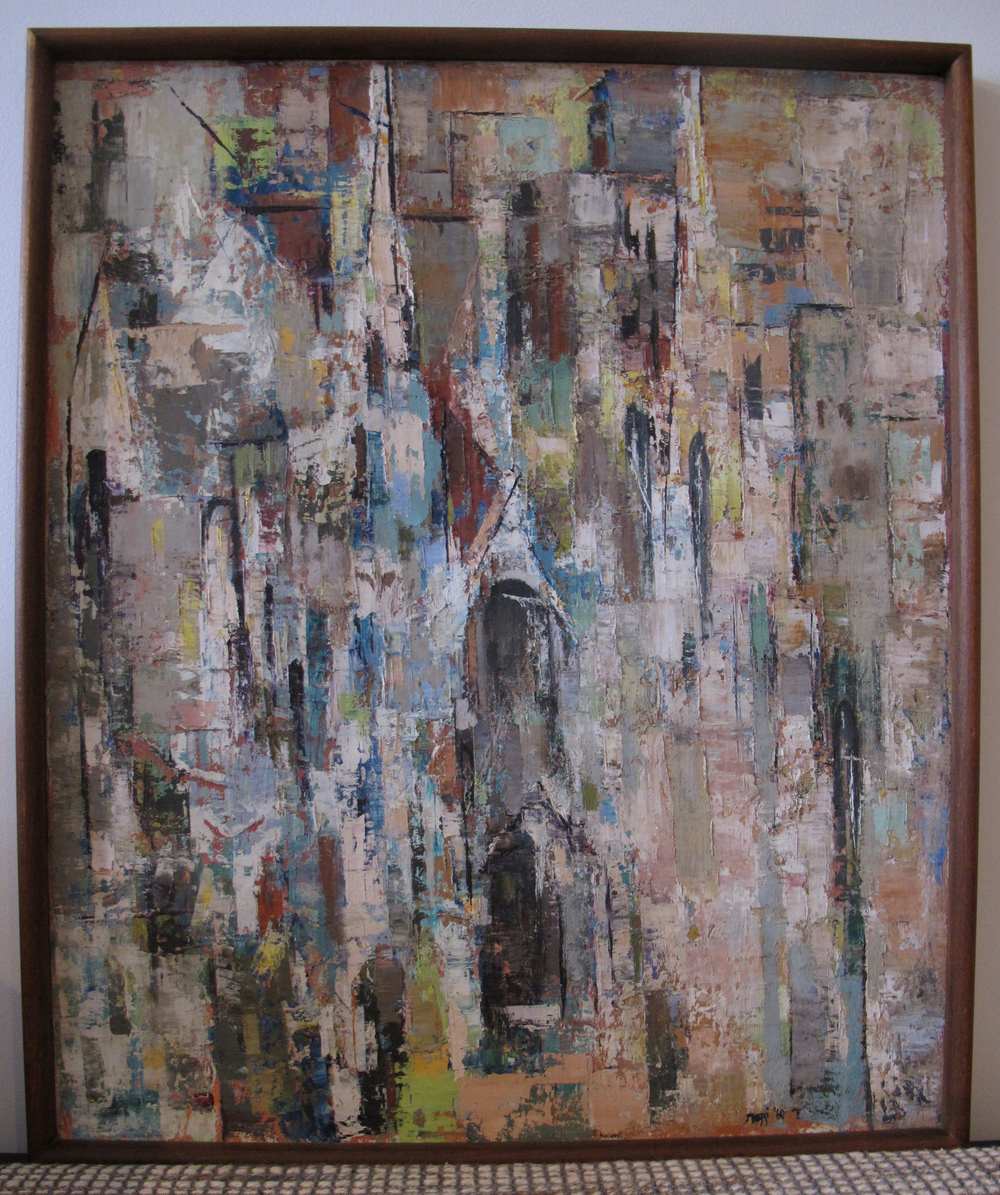 FRAMED ABSTRACT EXPRESSIONIST CITYSCAPE OIL PAINTING