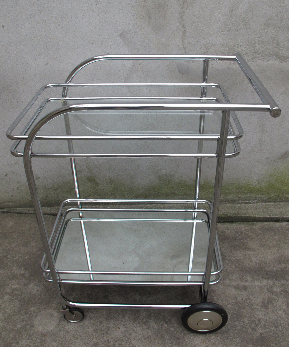 ART DECO STYLE GLASS & CHROME SERVING CART