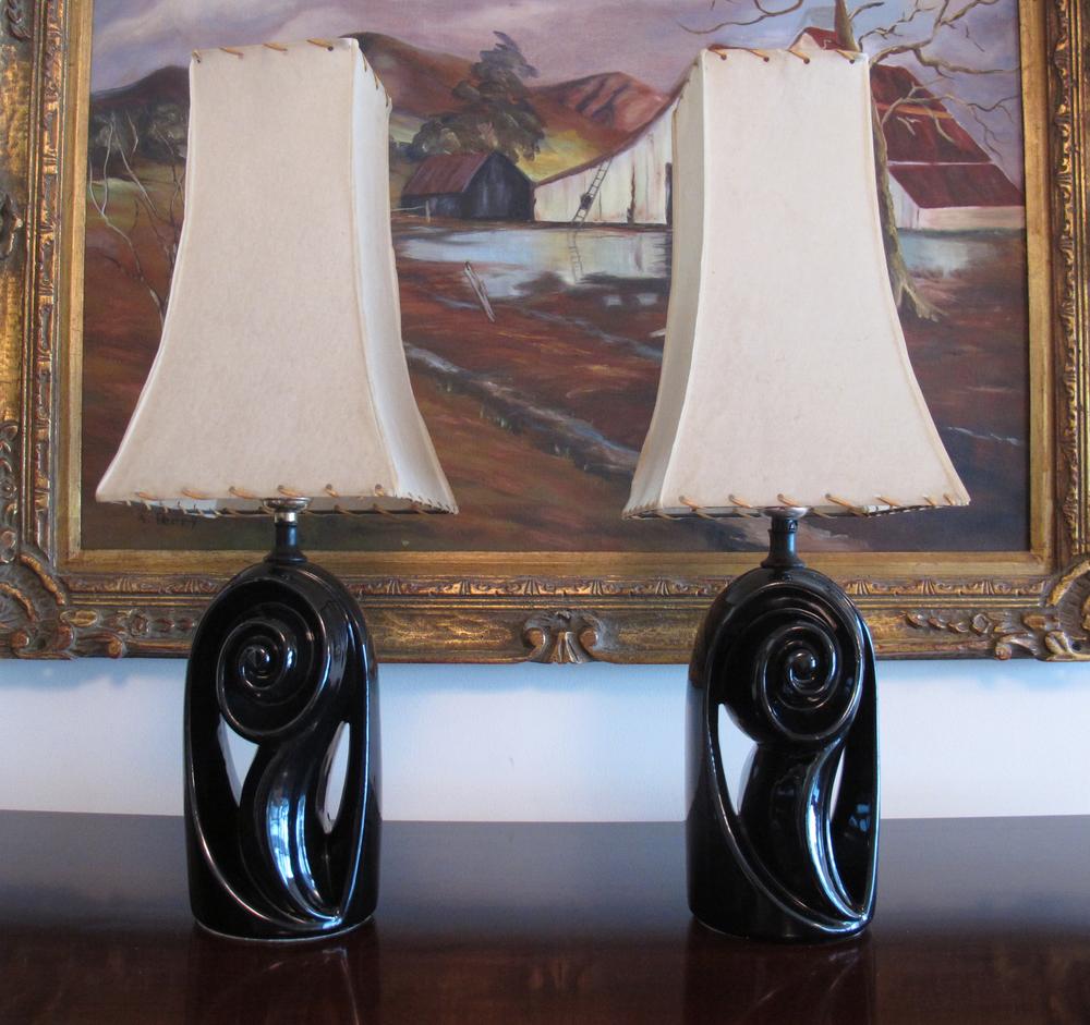 PAIR OF MID CENTURY BIOMORPHIC BLACK CERAMIC LAMPS