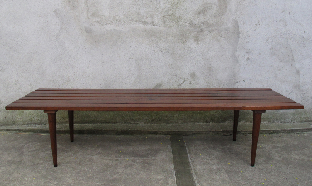 MID CENTURY 5-FOOT WALNUT SLAT BENCH COFFEE TABLE
