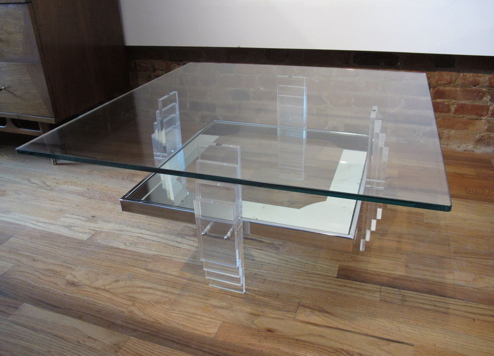MID CENTURY GLASS AND LUCITE TWO TIER COFFEE TABLE AFTER CHARLES HOLLIS JONES