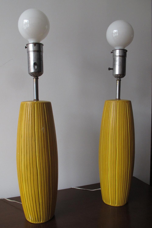 DANISH MODERN STYLE YELLOW TALL CERAMIC LAMPS