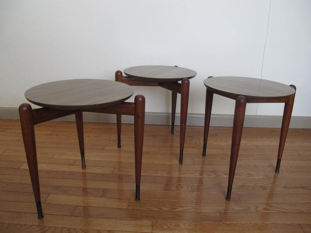 SET OF DANISH MODERN STYLE STACKING TABLES