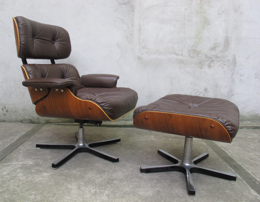 MID CENTURY EAMES STYLE LOUNGE CHAIR AND OTTOMAN BY PLYDESIGNS