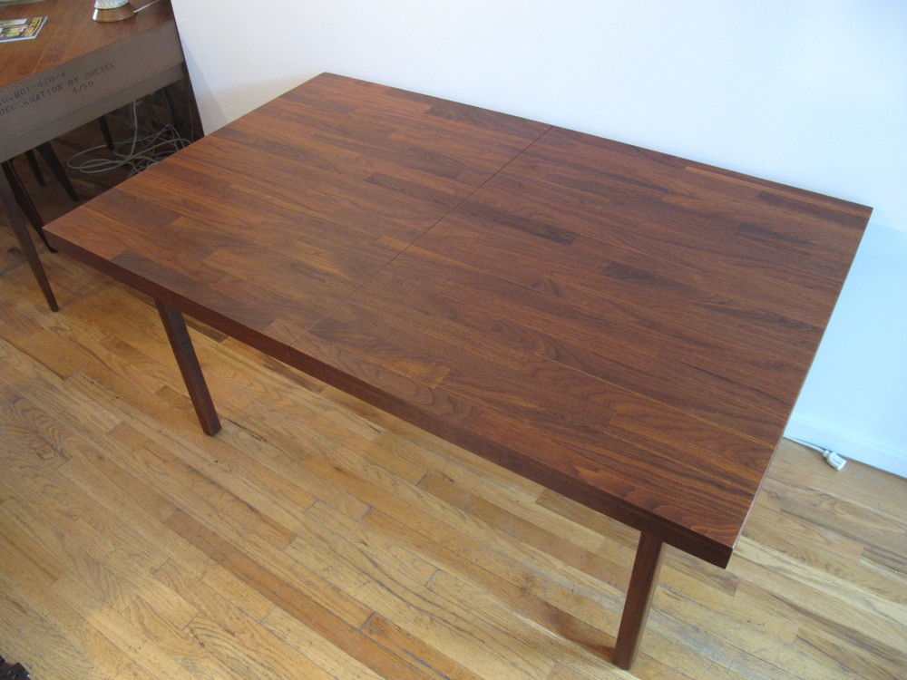 MID CENTURY MODERN WALNUT PARQUET DINING TABLE AFTER BAUGHMAN