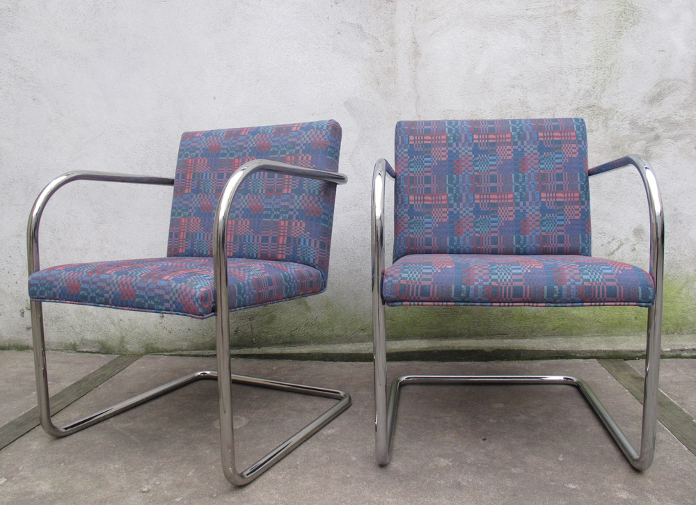 PAIR OF BRNO STYLE TUBULAR ARMCHAIRS AFTER MIES VAN DER ROHE FOR KNOLL