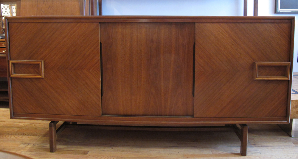 MID CENTURY MODERN LONG DRESSER WITH DECO FLAIR
