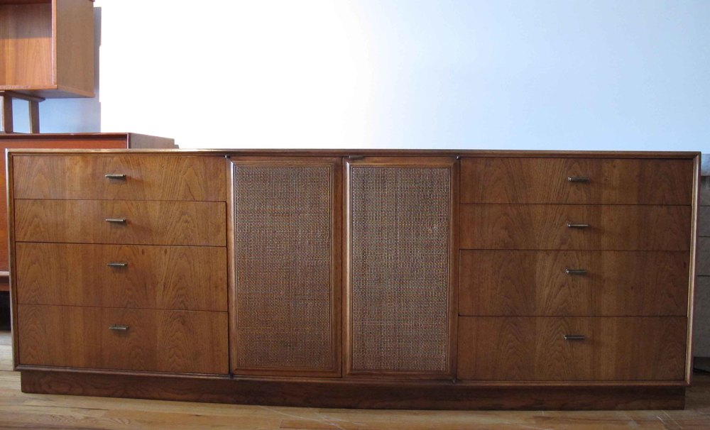MID CENTURY CANE AND WALNUT LONG DRESSER BY FOUNDERS