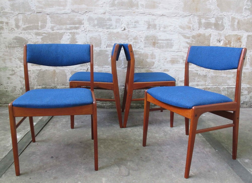 SET OF DANISH MODERN TEAK DINING CHAIRS