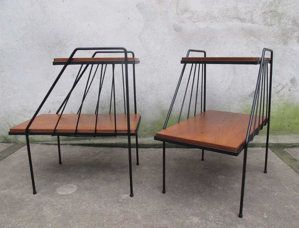 MID CENTURY IRON & WOOD TWO-TIER END TABLES AFTER ARBUCK