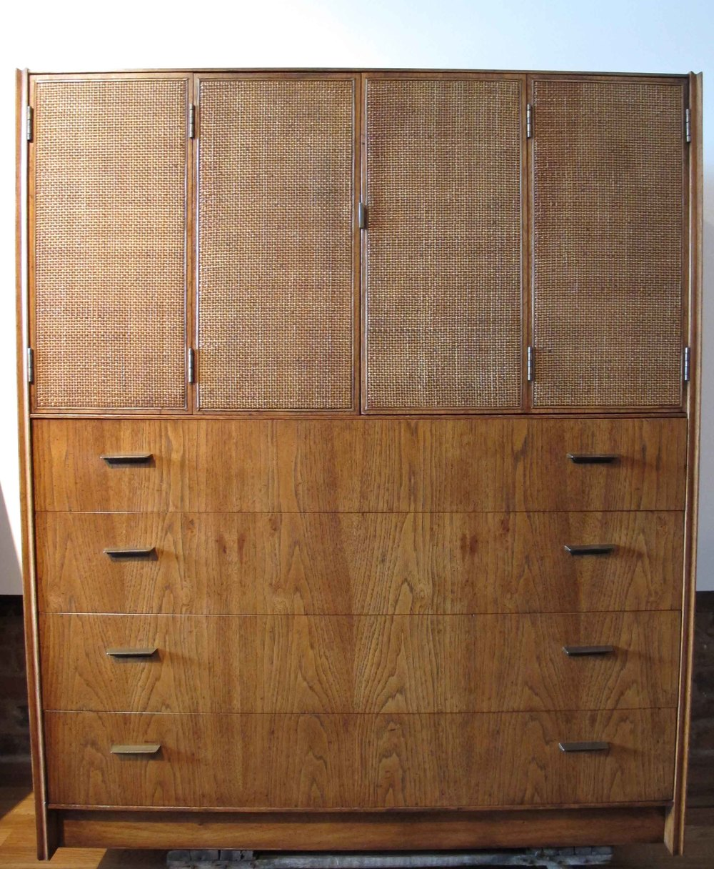 MID CENTURY CANE AND WALNUT TALL DRESSER BY FOUNDERS