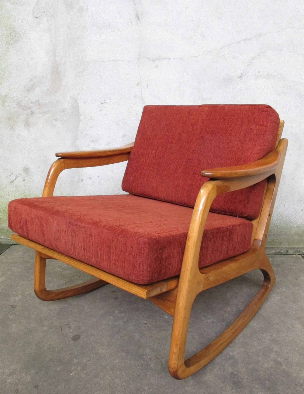 PEARSALL STYLE MID CENTURY CANE BACKED ROCKING CHAIR