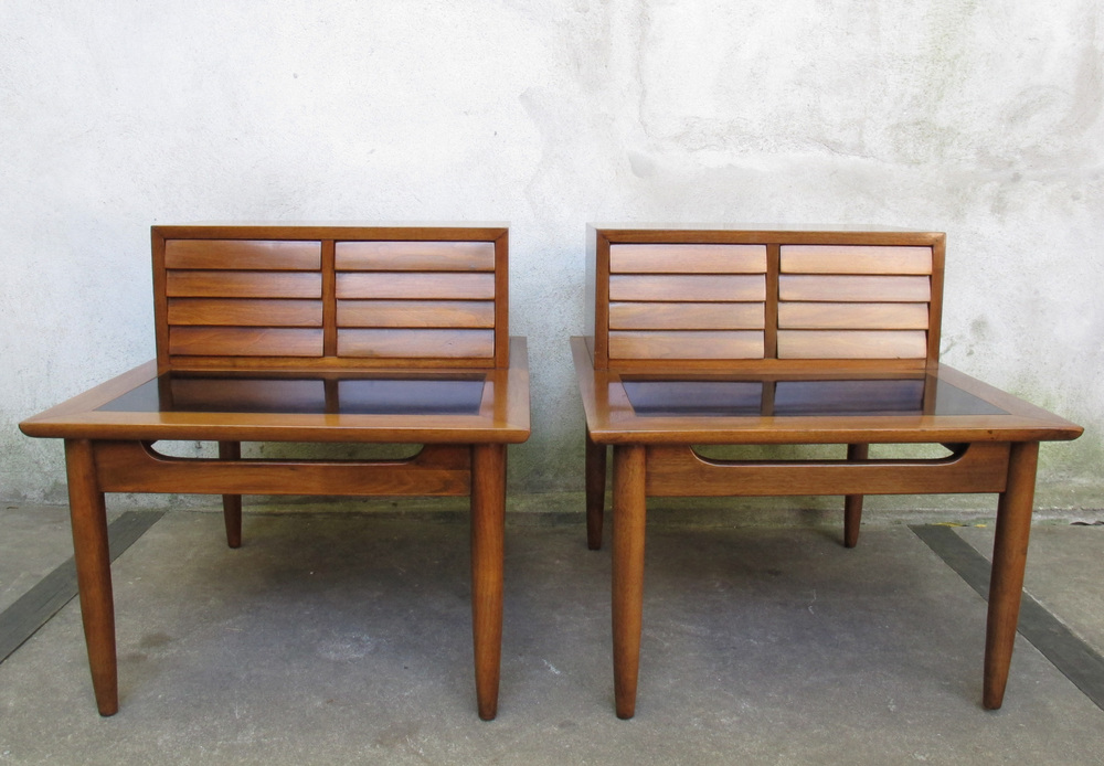 PAIR OF MID CENTURY WALNUT END TABLES BY AMERICAN OF MARTINSVILLE
