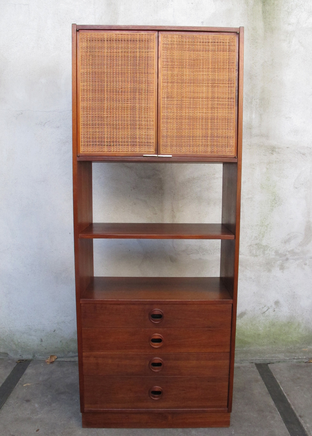 DANISH MODERN WALNUT & CANE BOOKCASE CABINET