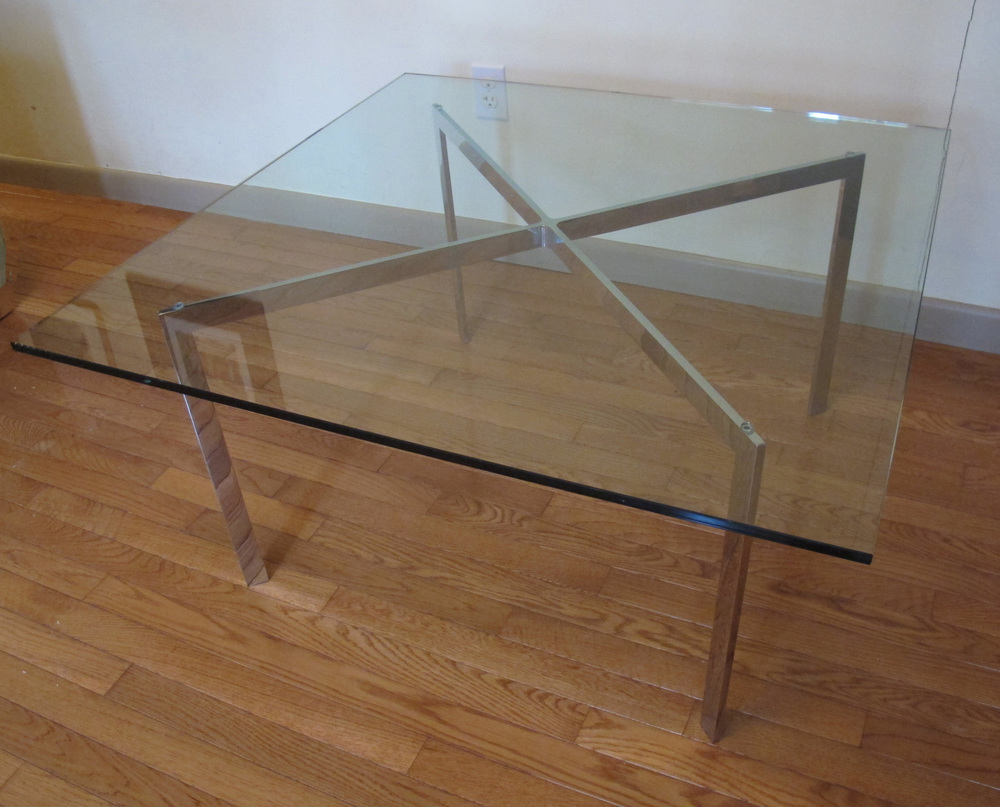 BARCELONA KNOLL STYLE SQUARE GLASS COFFEE TABLE AFTER MIES VAN DER ROHE