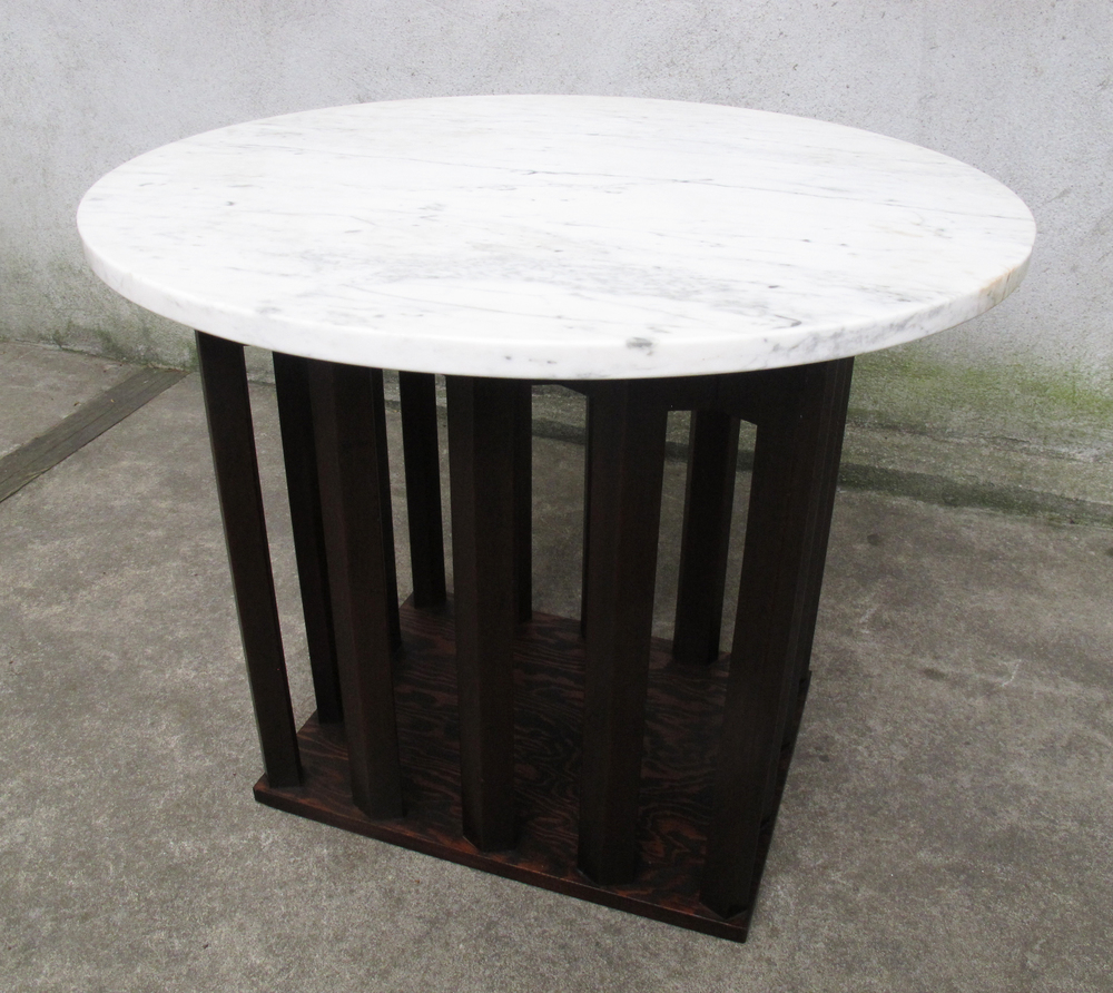 MID CENTURY HARVEY PROBBER STYLE MARBLE SIDE TABLE