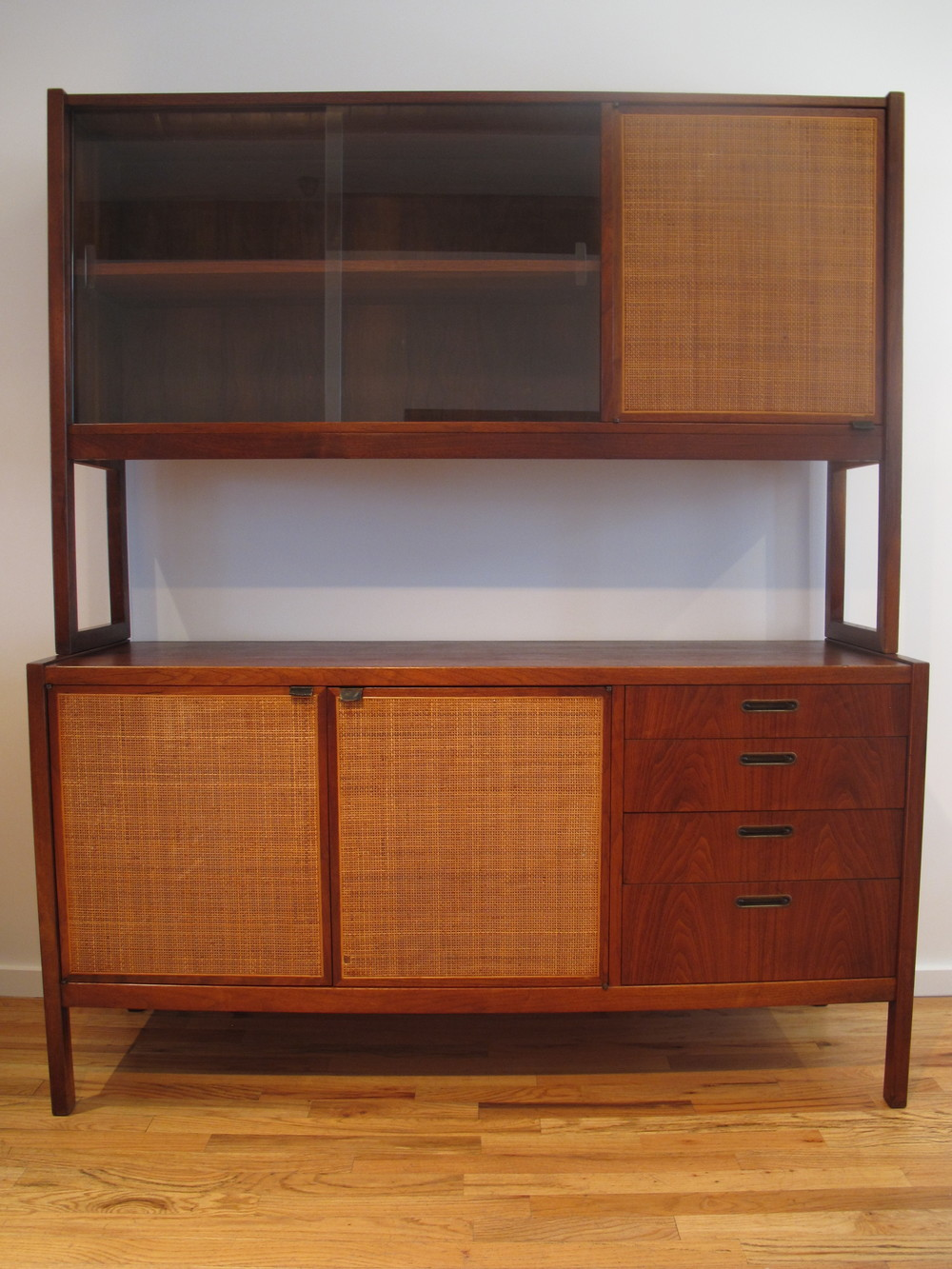 MID CENTURY CANE & WALNUT CABINET AFTER FLORENCE KNOLL