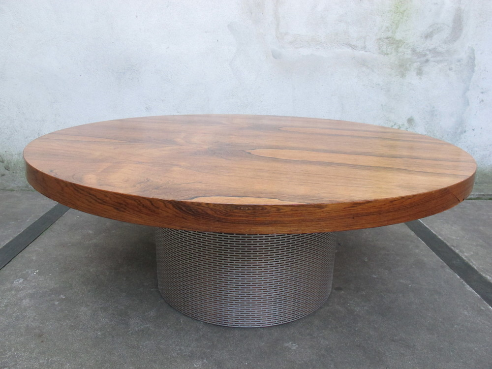 MID CENTURY REVOLVING COFFEE TABLE AFTER MILO BAUGHMAN