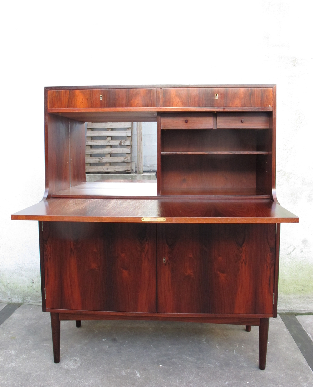 DANISH MODERN ROSEWOOD DROP DOWN SECRETARY DESK BY H.P. HANSEN