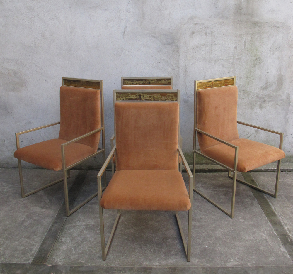 SET OF FOUR MASTERCRAFT DINING CHAIRS BY BERNARD ROHNE