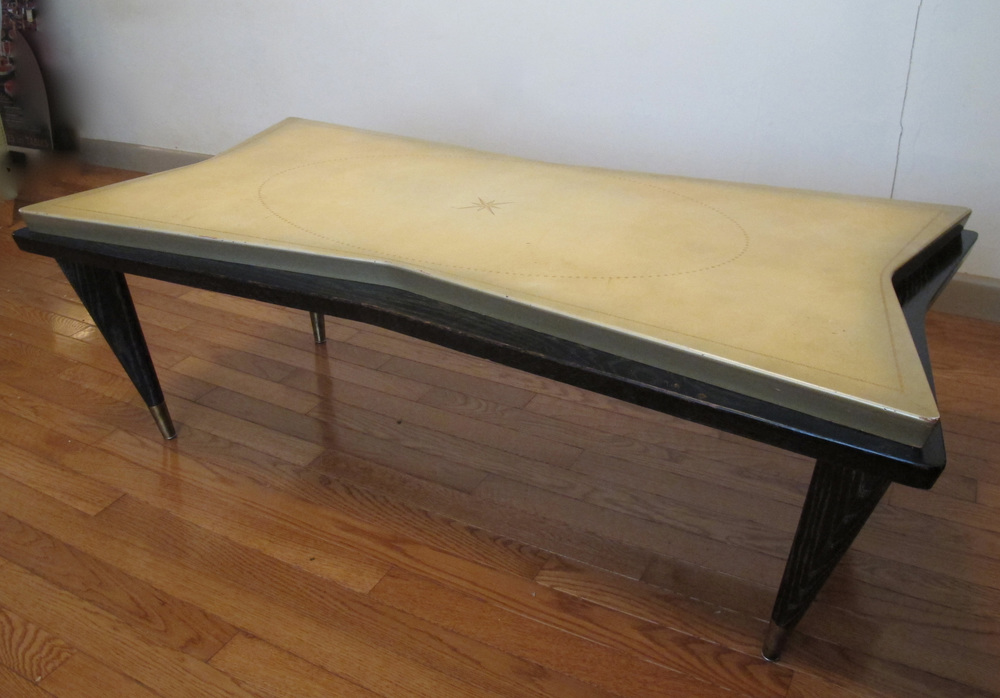 MID CENTURY ATOMIC BLACK OAK COFFEE TABLE