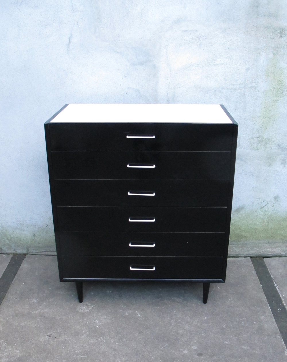 MID CENTURY BLACK & WHITE TALL DRESSER BY AMERICAN OF MARTINSVILLE