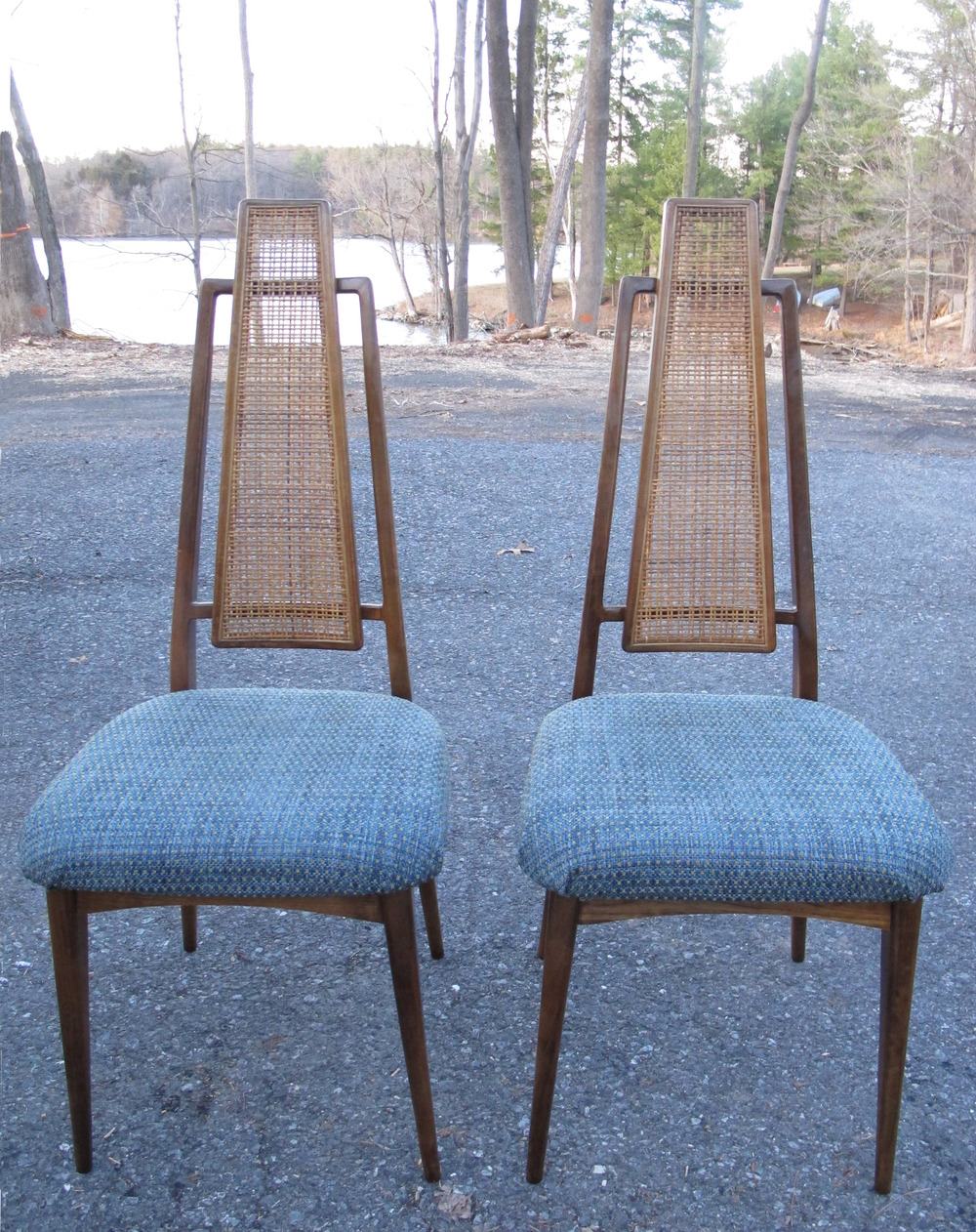 PAIR OF MID CENTURY HIGH BACK CANE DINING CHAIRS