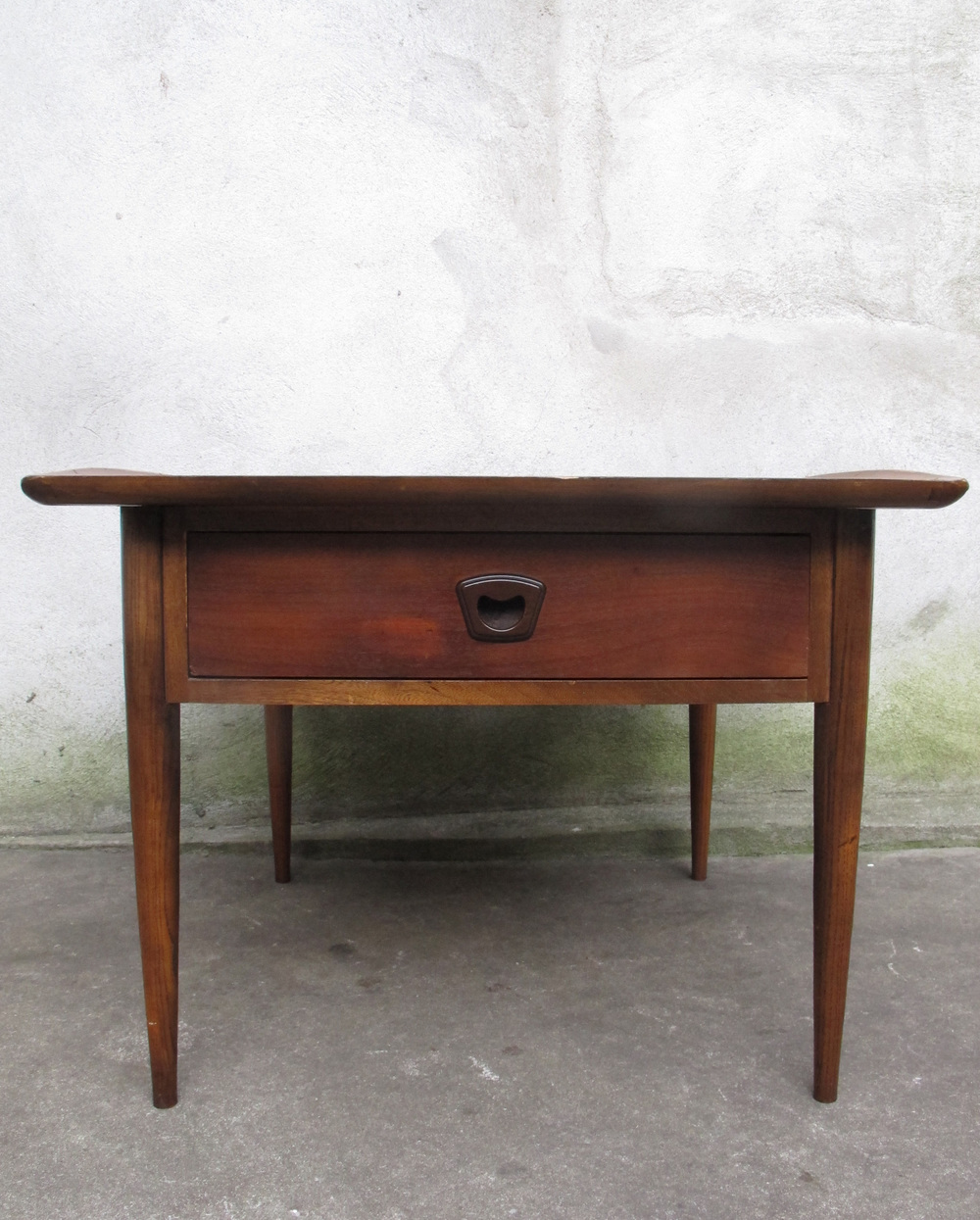 MID CENTURY WALNUT & OAK SIDE TABLE BY BASSETT