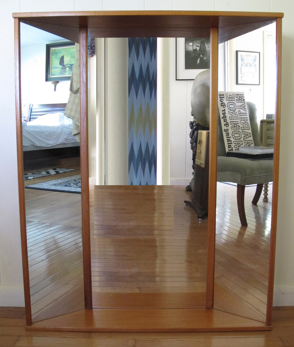 DANISH MODERN TEAK THREE PANEL MIRROR