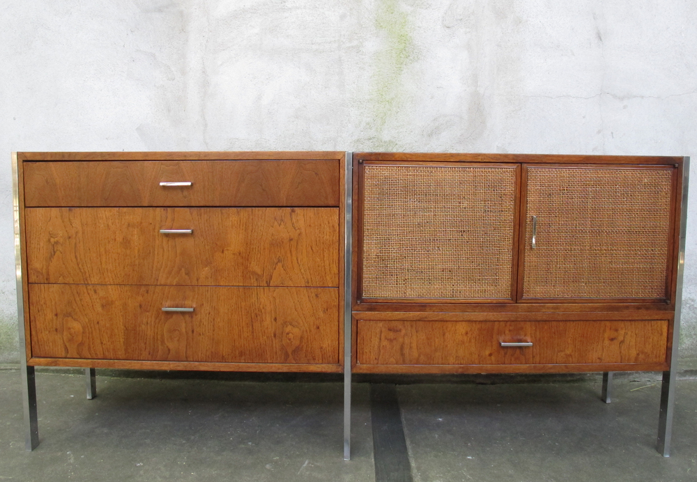 MID CENTURY WALNUT & CHROME CREDENZA BY FOUNDERS